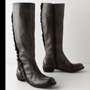 Anthropologie Winding Ruffle Boots Leather sz 7.5